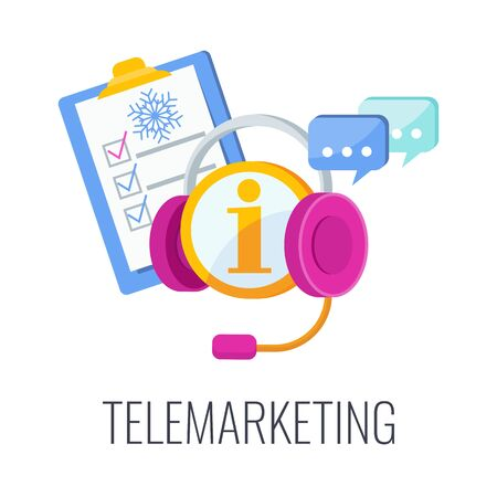 Telemarketing flat vector icon. Cold calling. Outbound marketing.