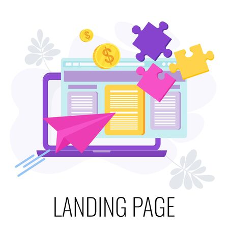 Landing page icon. Standalone web page. Digital marketing. ecommerce online sales. Lead generation. Building traffic and conversion. Flat vector business infographics. Çizim