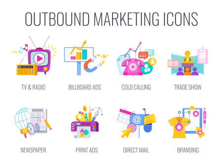 Outbound Marketing Icons. Traditional marketing flat vector illustration.
