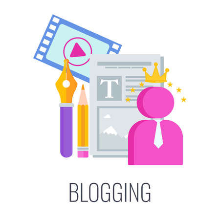 Blogging icon. Content marketing. Advertising campaign planning.
