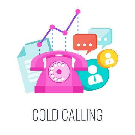 Telemarketing flat vector icon. Retro telephone, list of potential customers