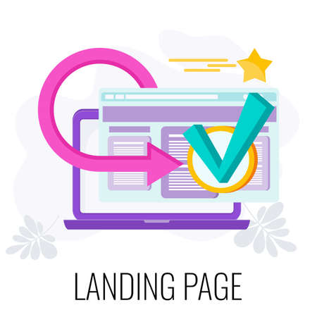 Landing page icon. Marketing flat vector illustration. Çizim