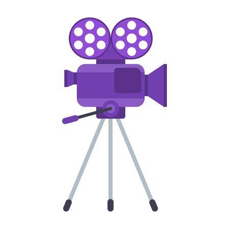 Movie Camera Stand icon. Retro movie camera, camcorder.