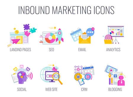 Inbound Marketing. Digital marketing icons. Internet Content Management Strategy.