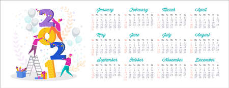 2021 calendar and Greeting card for Christmas and New Year. Çizim
