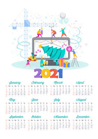 2021 Happy New Year calendar. Greeting card for Christmas.