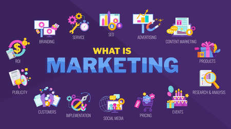 What is marketing icons. Marketing mix infographic flat vector illustration.