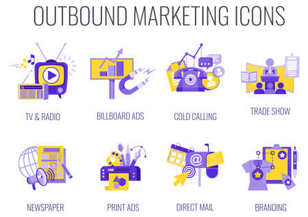 Outbound Infographics Marketing Icons. Flat vector illustration.