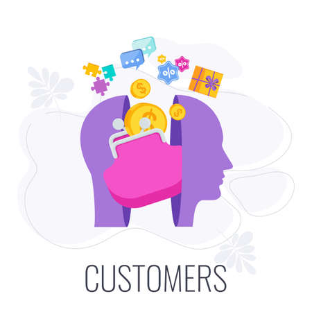 Client, customer, consumer infographics pictogram.