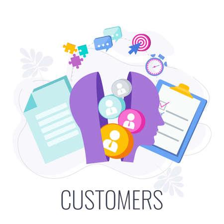Client, customer, consumer infographics pictogram.