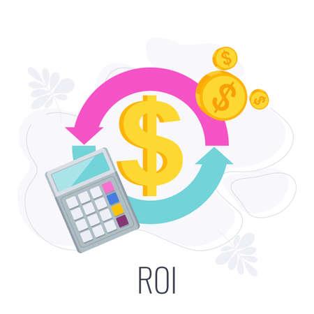 ROI icon. Return on investment. Flat vector illustration. Vektoros illusztráció