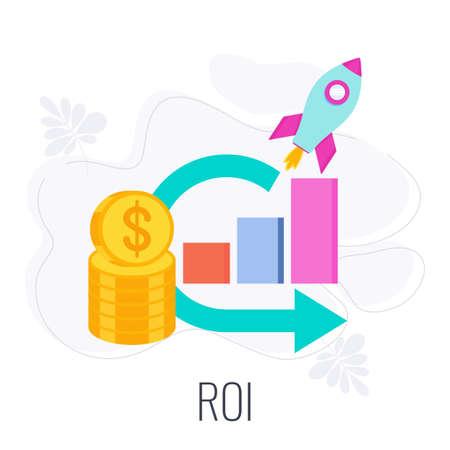 ROI icon. Return on investment. Stack of coins Vektoros illusztráció