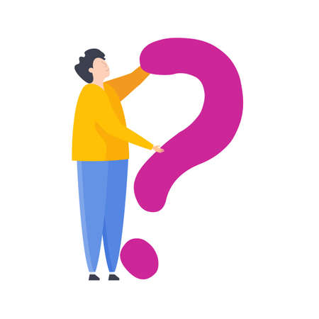 Man with question. Frequently asked Questions. Flat vector illustration. Illustration