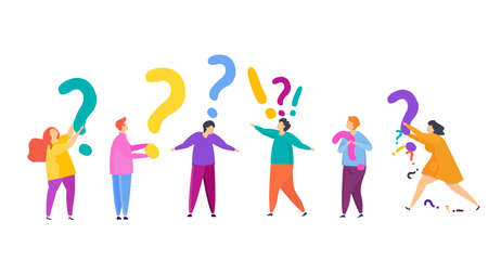 Small people are asking. Frequently asked Questions. Flat vector illustration. Illustration
