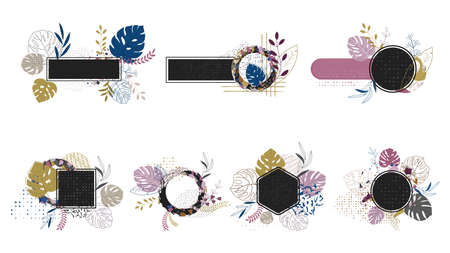 Floral frame for label tags with natural elements.