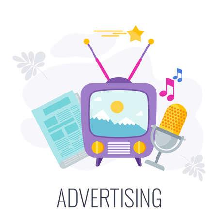 TV, ragio and newspaper advertising. Flat vector cartoon illustration.
