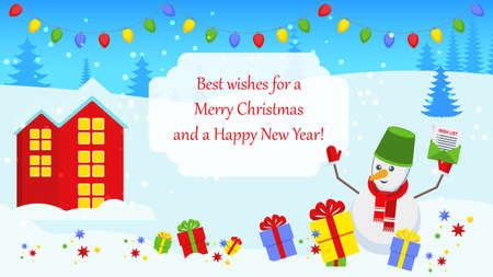 Bright Christmas card with characters for holiday decorations.