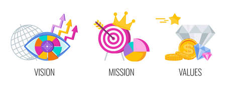 Business vision, mission, values and strategy statement.  イラスト・ベクター素材
