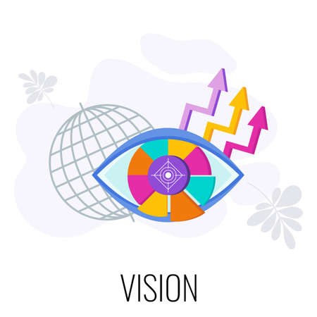 Business vision statement. Eye out of segments. Flat vector style illustration