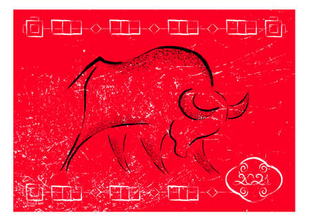 Chinese new year 2021 background. Ox, bull, cow