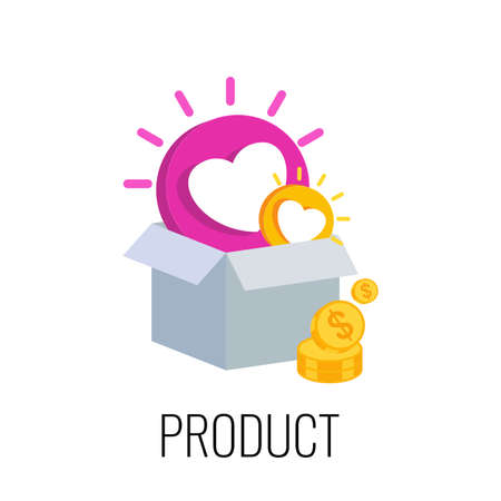 Product Infographics Icon. Successful content marketing strategy. Illustration