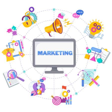 Marketing mix infographic flat vector illustration. Vecteurs
