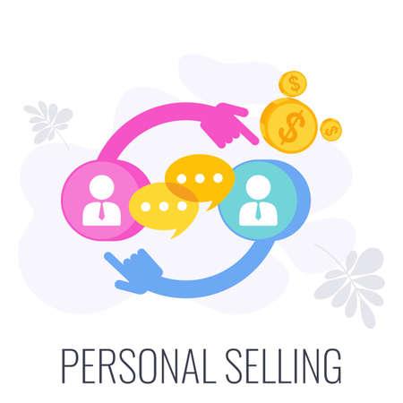 Personal Selling Icon. Sale Infographics Icon. Strategy, management. Illusztráció