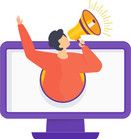 Advertising business concept. Man with a megaphone climbs out of a computer screen. Metaphor of promoting goods and services for potential customers, target audience. Flat cartoon illustration.