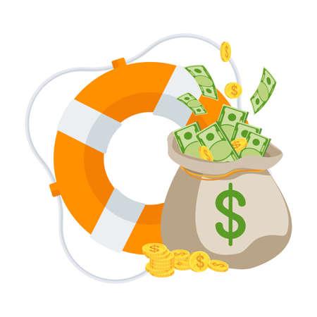 Money bag in lifebuoy. Dollars in ring buoy.