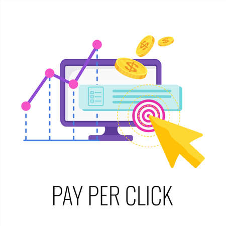 Pay per click infographics pictogram. Internet advertising model.