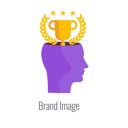 Brand image infographics pictogram. Winner cup in human head. 일러스트