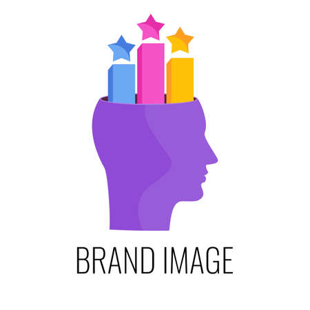 Brand image infographics pictogram. Strategy, management and marketing.