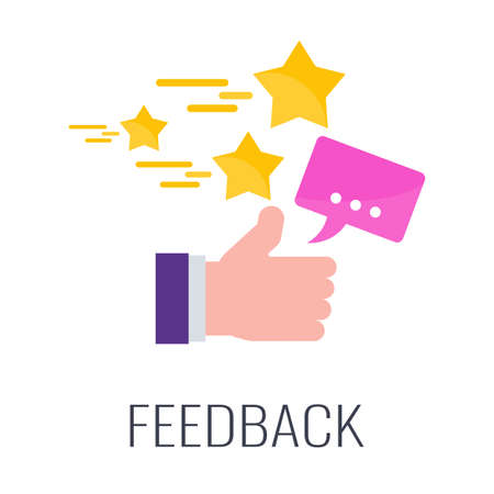 Feedback from customers. Positive review. Flat vector cartoon illustration.