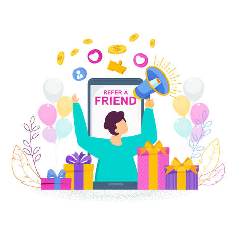 Refer a friend concept. Trendy flat vector style.