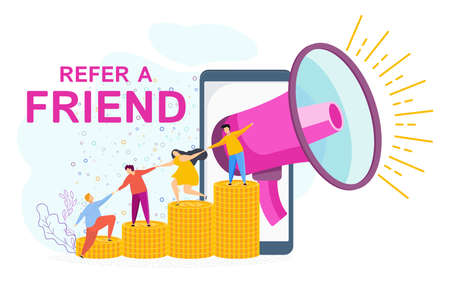 Refer a friend concept. Trendy flat vector style. 向量圖像