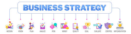 Business strategy key elements banner with icons.