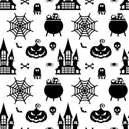 Vector Halloween seamless pattern. Black icons of skull, spider, pumpkins.