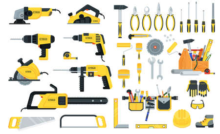 Set of power tools in yellow and black color. Home repair. Vetores