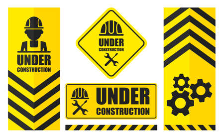 Warning sign under construction set. Yellow color. Logo concept.