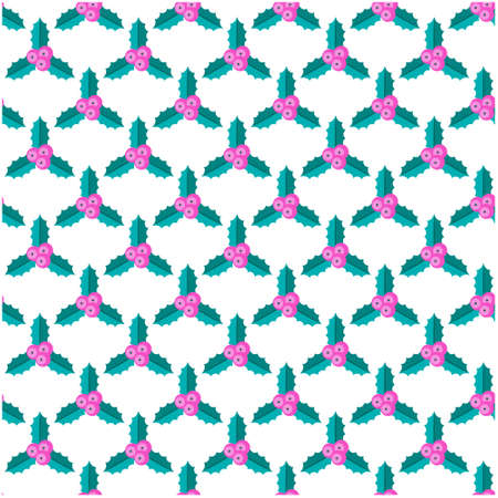 Seamless pattern with Holly berry branch.