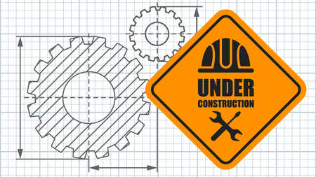 Warning sign under construction on poster template. Logo concept