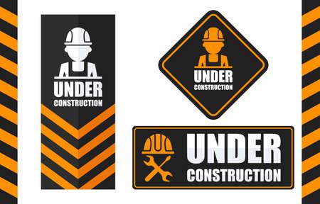 Warning sign under construction set. Black and orange color.