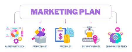 Marketing plan banner with icons. Flat vector illustration.