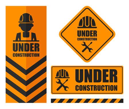 Warning sign under construction set. Orange color.