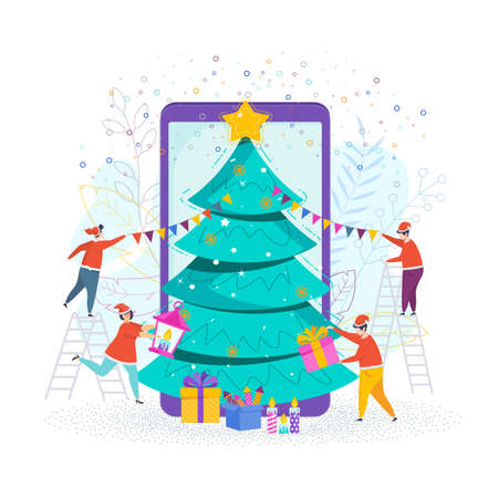 A group of people decorate a Christmas tree in mobile phone Çizim