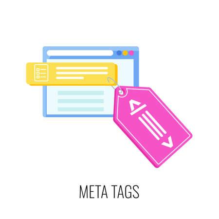Meta tags icon. SEO, increase the quantity and quality of traffic Ilustração