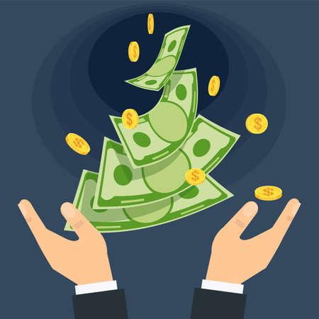 Hands throw money into a black hole. Economic crisis. Ilustração