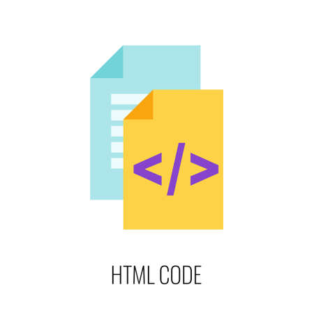 Html code flat icon. SEO, Digital marketing. Content strategy