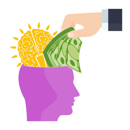 Businessman puts money into the head with brain.