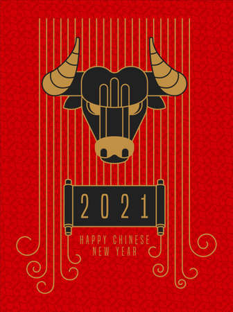 Happy Chinese New Year greeting card 2021. Outline decoration icons.